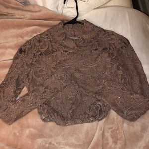 Long sleeve see-through crop top Size: Small